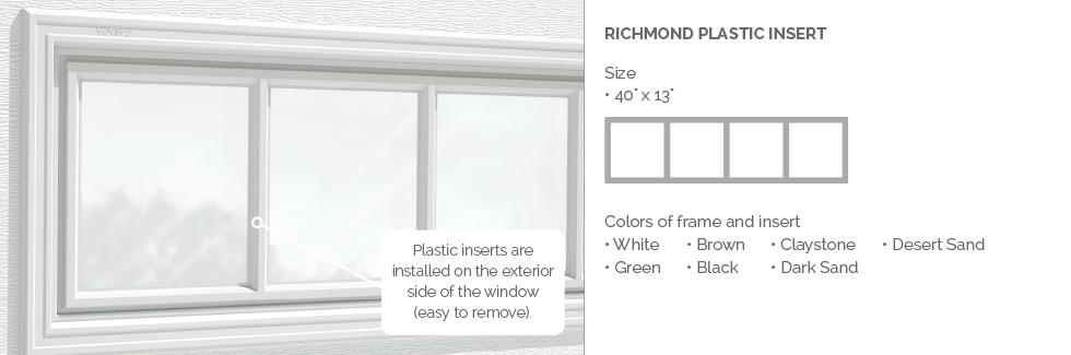 Richmond Plastic Insert for Garaga garage door windows