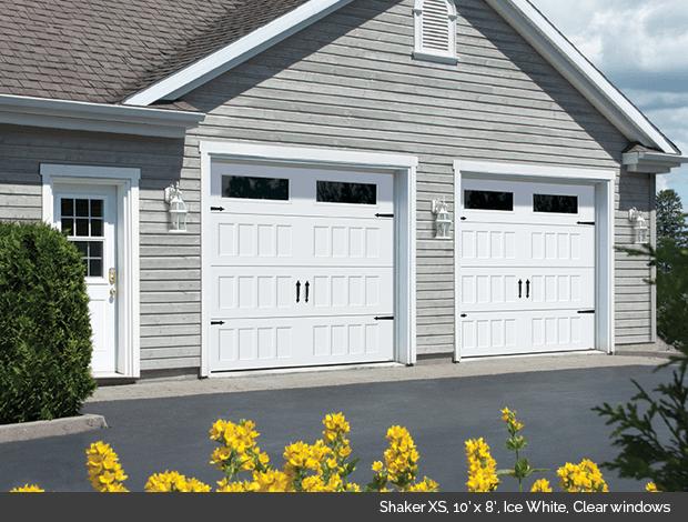 Shaker XS Garaga garage door in Ice White with clear windows