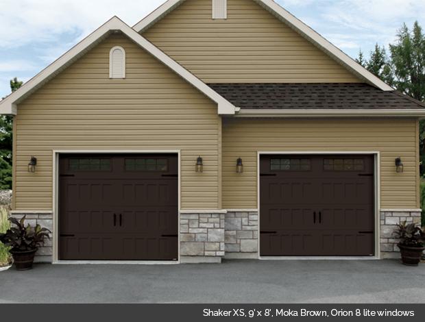 Shaker XS Garaga garage door in Moka Brown with Orion 8 lite windows