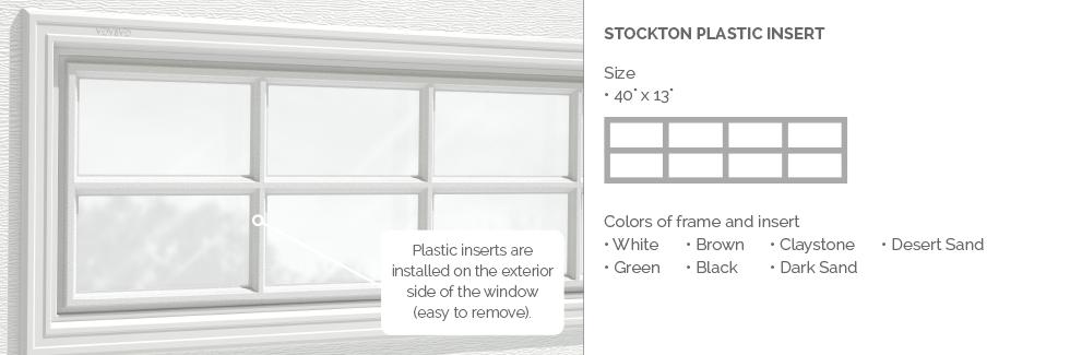 Stockton Plastic Insert for Garaga garage door windows