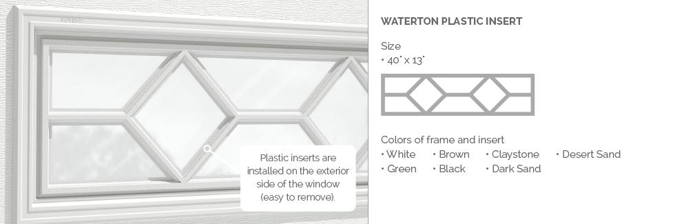 Waterton Plastic Insert for Garaga garage door windows