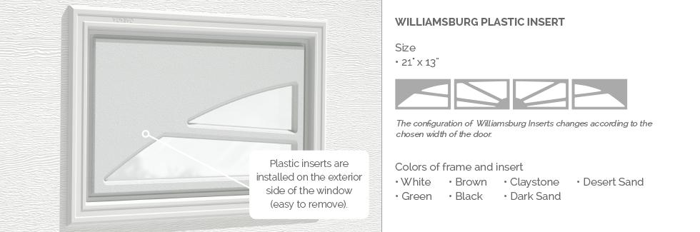 Williamsburg Plastic Garage Door Glass Insert
