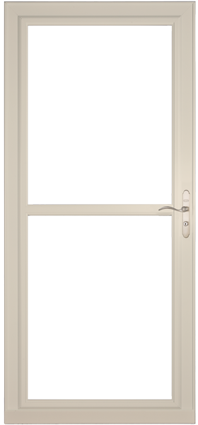 Larson 146 Full View Almond Screen Away Door with Brushed Nickel Handle