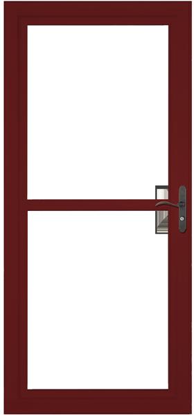 Larson 146 Full View Cranberry Screen Away Door with Aged Bronze Handle