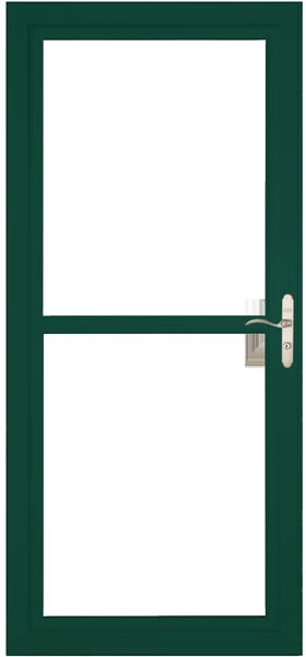 Larson 146 Full View Green Screen Away Door with Brushed Nickel Handle