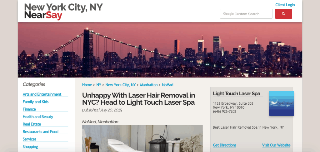 Near Say NYC Light Touch Laser Spa