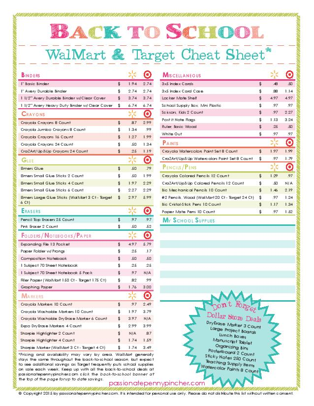 Walmart vs. Target - School Supply list for 2015