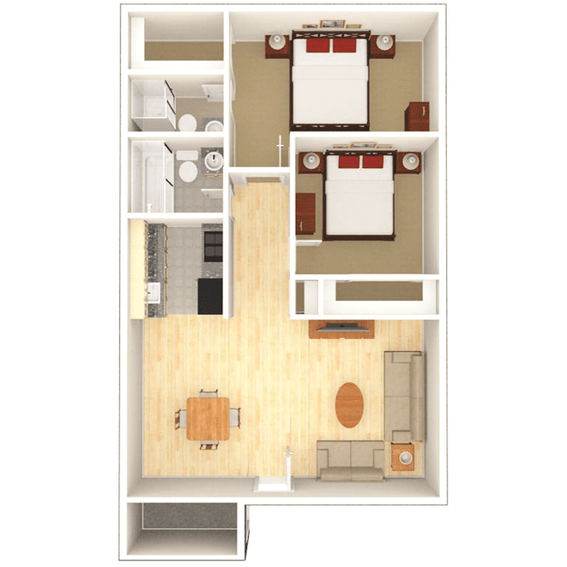 2 bed 2 bath apartment floor plan