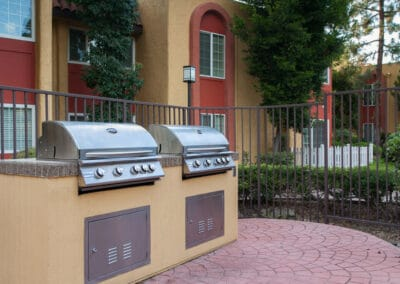 BBQ grills outside apartments