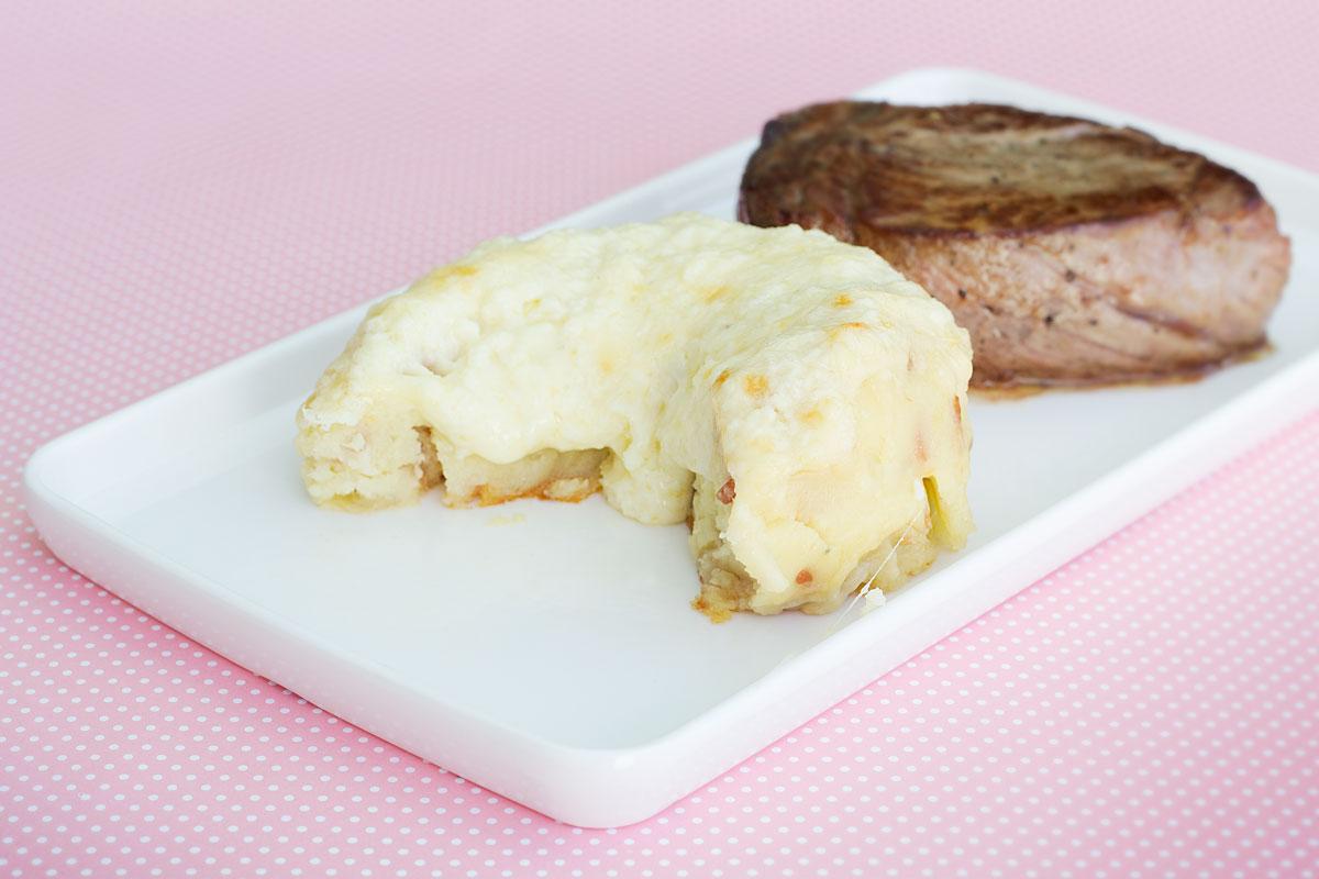 Batata Argentina com bacon e 3 queijos