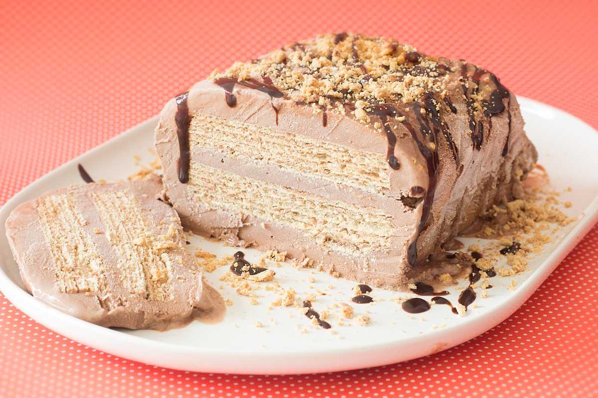 Cassata de sorvete de chocolate, Wafer e Paçoca