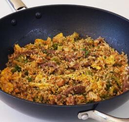 Arroz com Tiras de Carne e Molho Especial