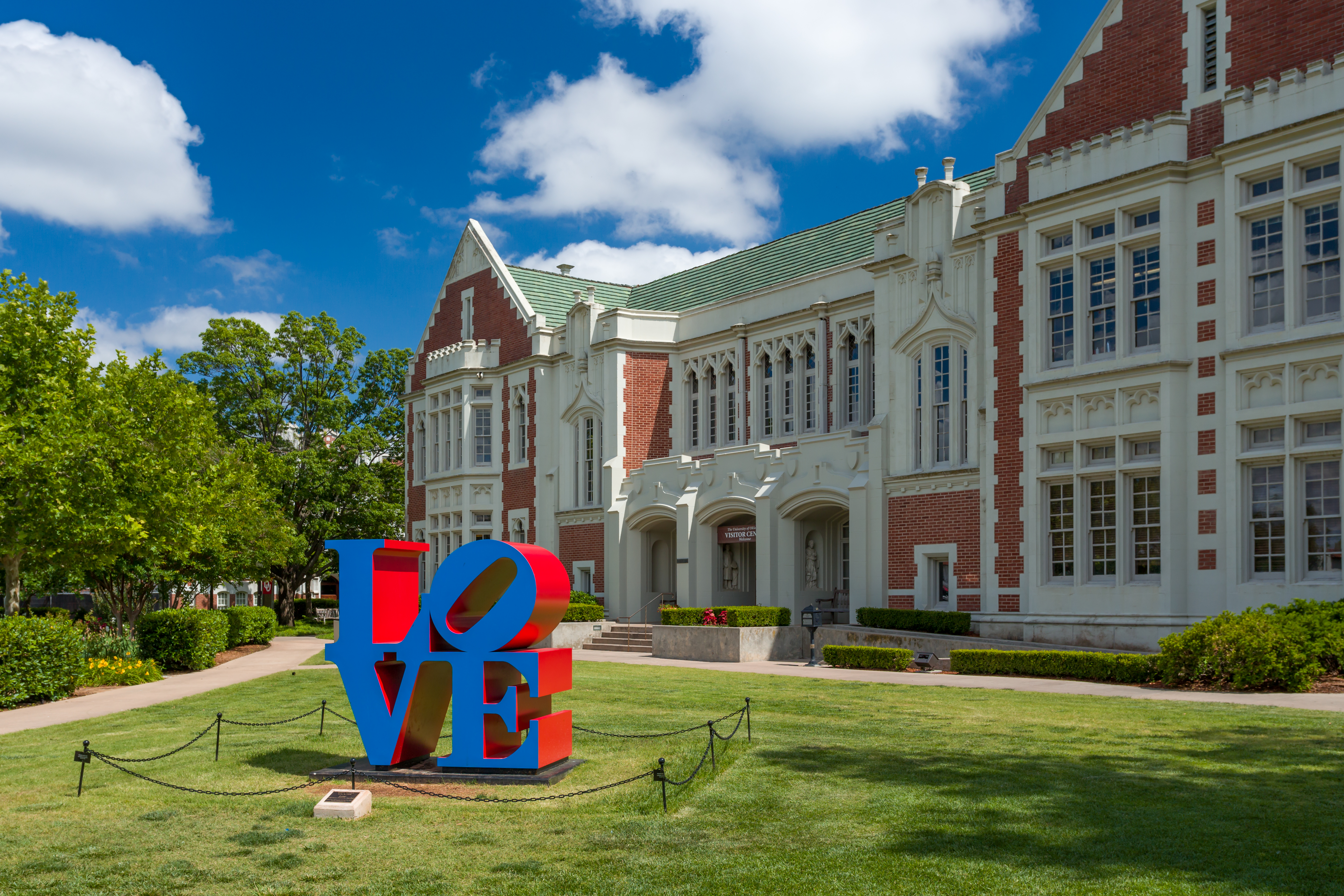 Norman, United States - May 20, 2016: Love Sculpture and Visitor Center on the campus of the University of Oklahoma.