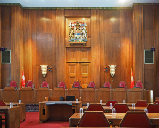 Picture of empty Supreme Court of Canada courtroom
