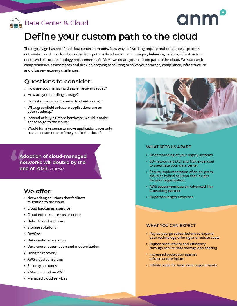 ANM Data Center and Cloud data sheet first page