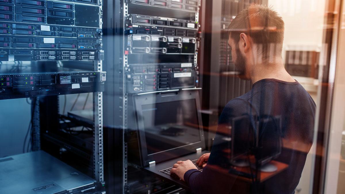 engineer working on servers