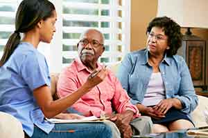 Doctor and elderly couple discussing home dialysis