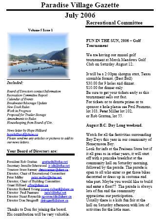 JULY 2006 Newsletter