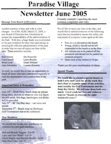 JUNE 2005 Newsletter