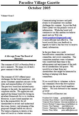 OCTOBER 2005 Newsletter