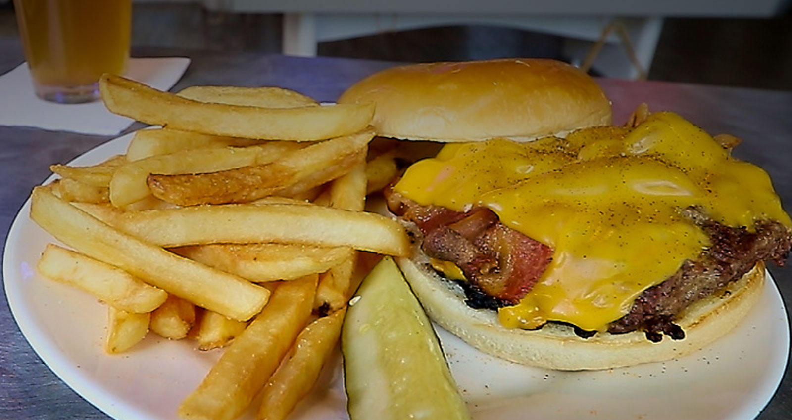 Bacon Cheeseburgers, Fries and Drink