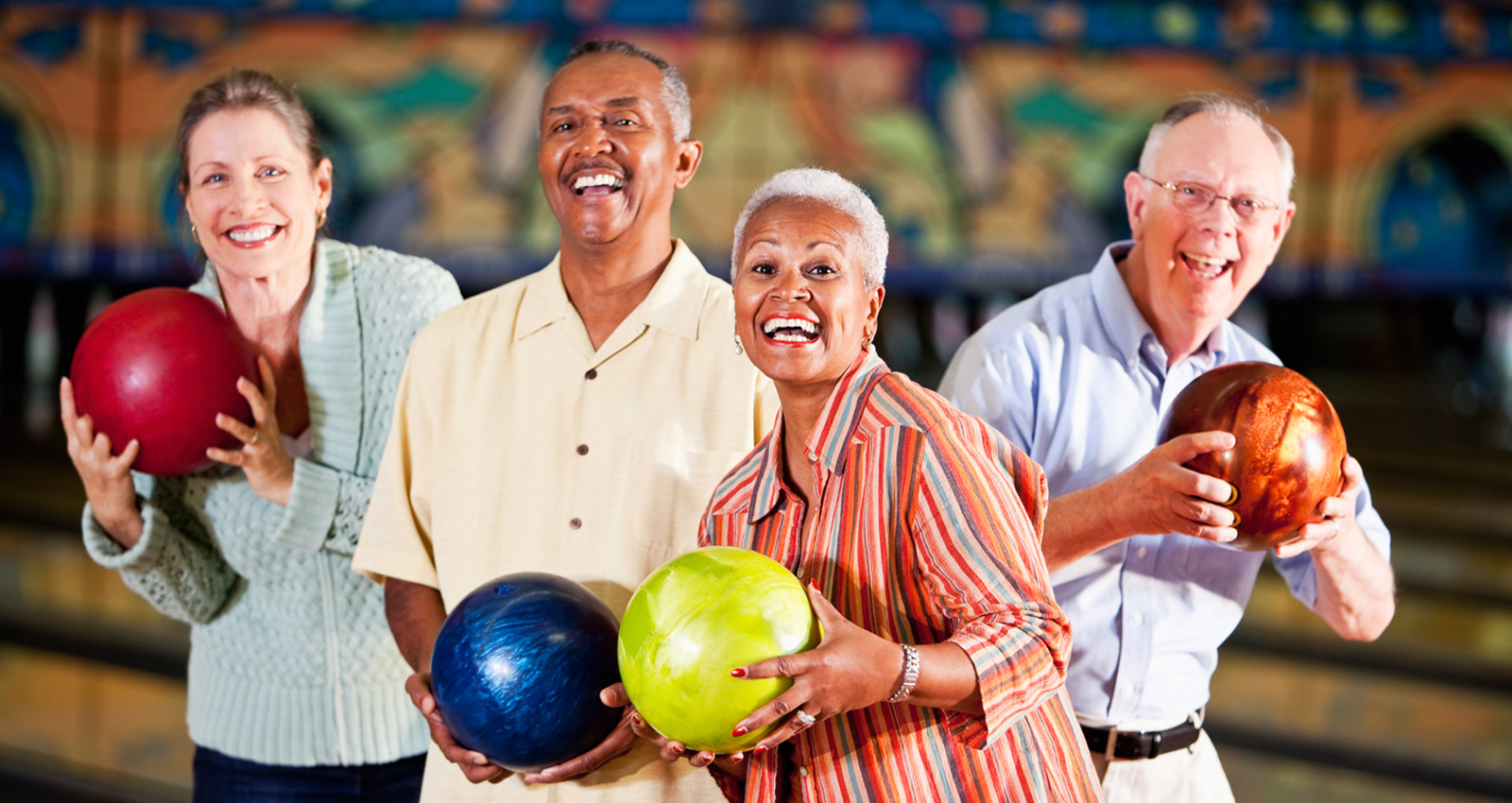 Older Couples Bowling at Princess Lanes in Caste Village