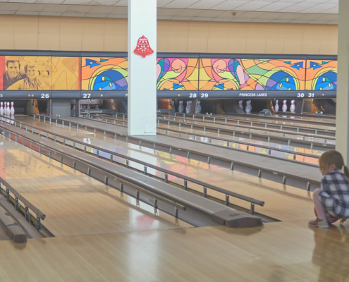 Birthday Bowling Party at Princess Lanes with bumpers raised