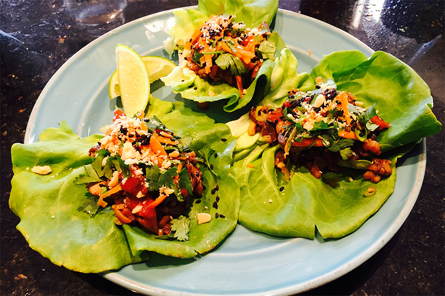 Three 5 Spice Tempeh Lettuce Wraps on a plate