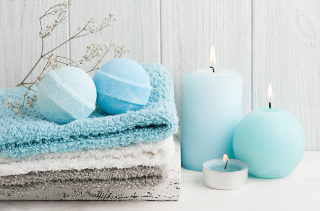 Bath towels, candles and bath bombs