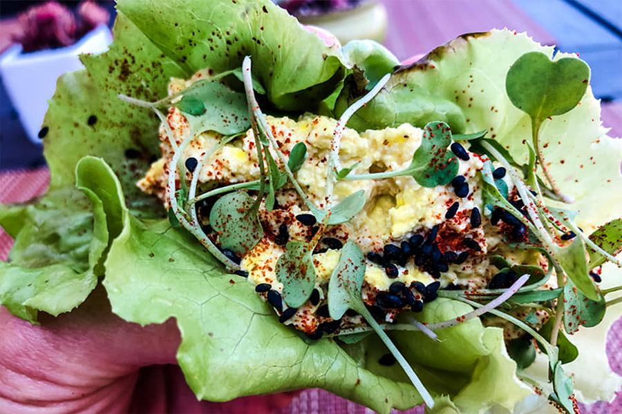 "Eggless ""Egg"" Salad in a lettuce wrap"