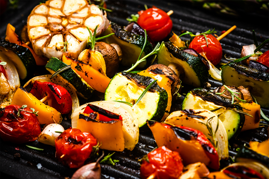 Vegetable Skewers on a grill