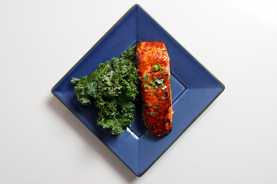 Plate with Honey Chipotle Glazed Salmon and Kale
