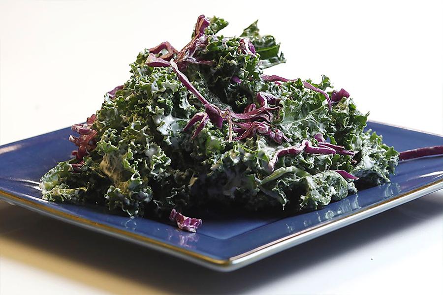 Kale Caesar Salad on a plate