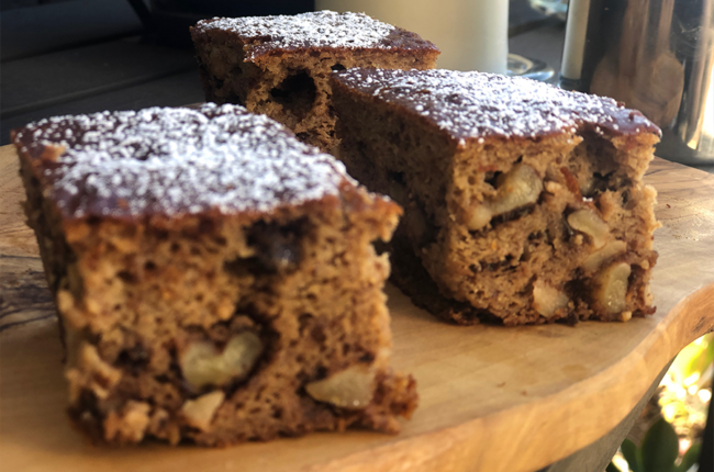 3 squares of Paleo Honey Cinnamon Banana Bread