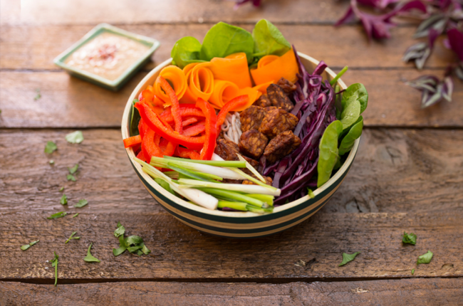 Bowl filled with multicolored veggies