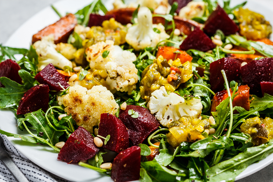 Roasted Cauliflower, Beet, and Fennel Salad with Parsley and Mint