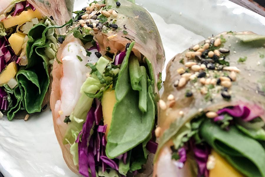 3 Summer Rolls with Shrimp or Tofu, Mango, Cilantro, Mint & Basil
