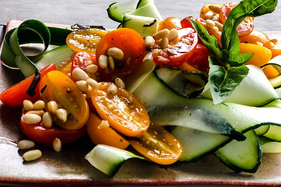 Zucchini Noodle Salad with Marinated Cherry Tomatoes