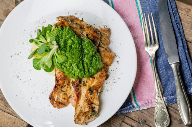Basil Pesto on top of seared chicken