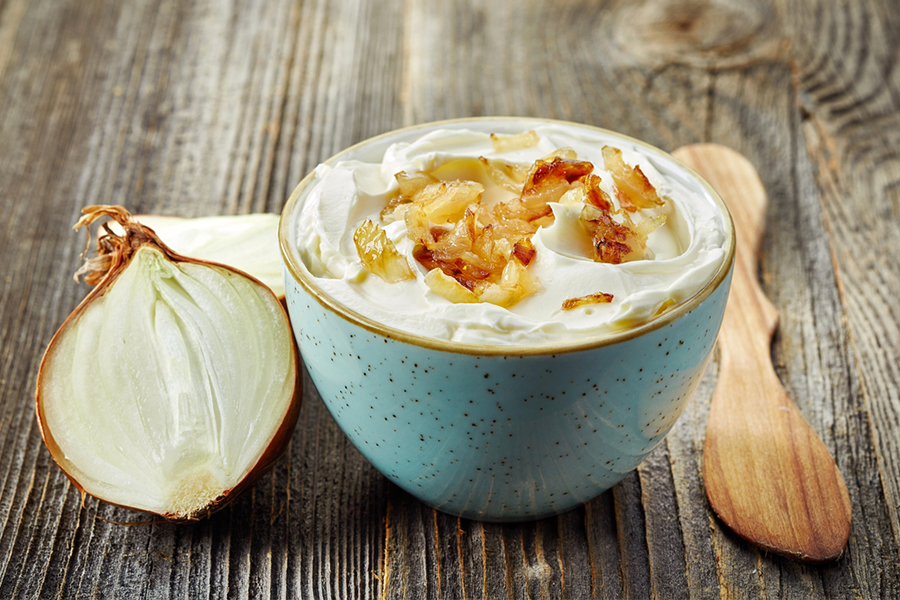 Bowl of Creamy Caramelized Onion Greek Yogurt Dip