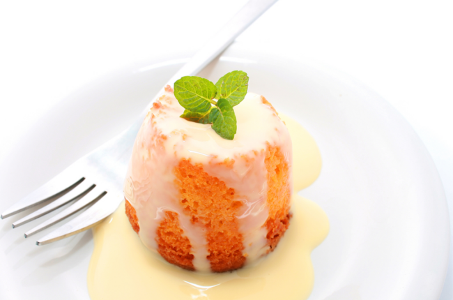 Creamy Orange Tofu Sauce on a small amuse-bouche cake