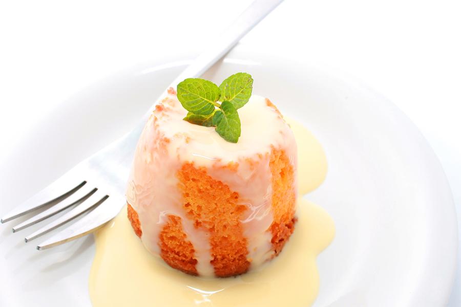 Creamy Orange Tofu Sauce on a small amuse-bouche cake