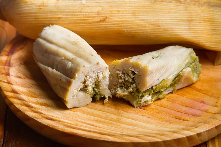 2 unwrapped Green Chile and Cheese Tamales