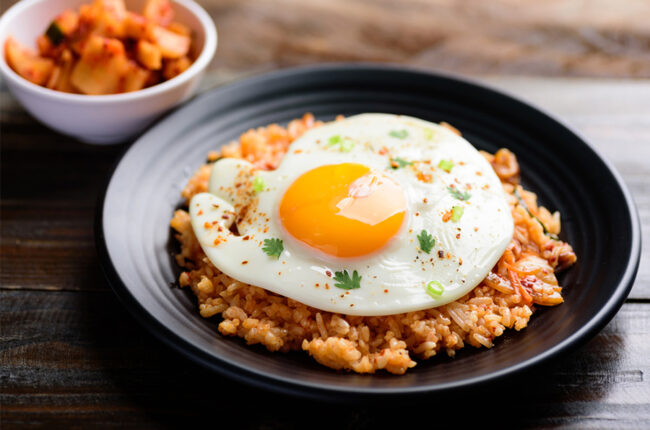 Bowl of Kimchi-Fried Rice with an egg on top