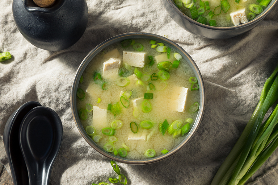 Overhead shot of a bowl of miso soup