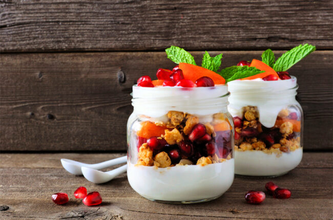2 small jars of Persimmon Pomegrante Fruit Parfait with Toasted Coconut