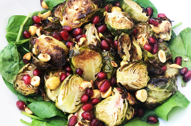 Roasted Brussels Sprouts with Hazelnuts and Pomegranate Seeds