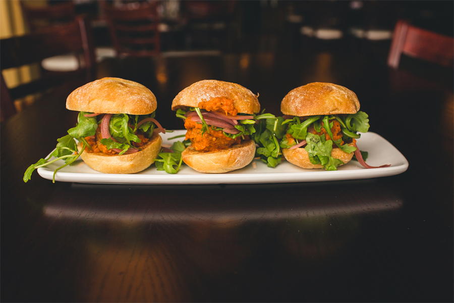 Plate with 3 Salmon Sliders