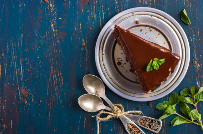 Slice of dark chocolate tart
