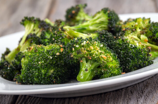 Plate of roasted broccoli